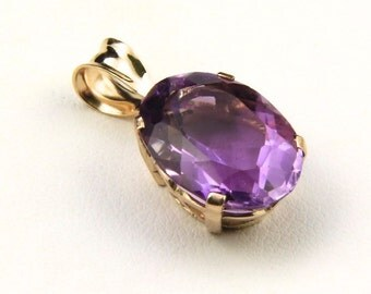 14k Yellow Gold & Faceted Amethyst Gemstone Necklace Pendant
