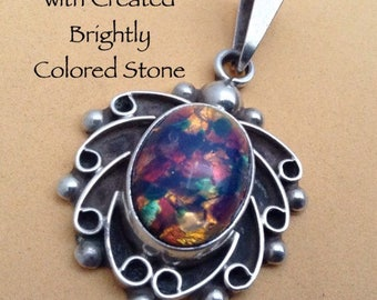 Taxco 925 Attractive Created Multi Colored Gem Pendant Set in Sterling Silver.
