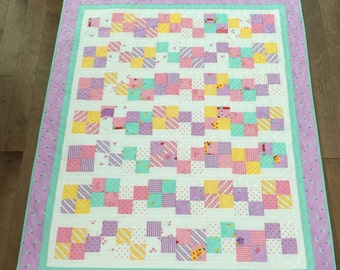 Purple and green and pink baby quilt  Bright and colorful Baby girl quilt goats flowers 30s