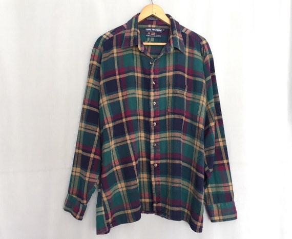 Green plaid shirt vintage blue tan red 100 cotton van heusen for Van heusen plaid shirts