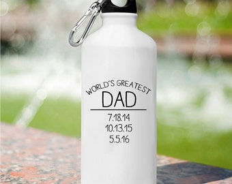 Personalized World's Greatest Dad Water Bottle - Personalized Water Bottle - Gifts for Him - Father's Day Gifts - GC1455 DAD