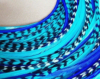 """7""""-10"""" in Length 5 Beautiful Ocean Blue Feathers Bonded At the Tip for Hair Extension Salon Quality Feathers"""