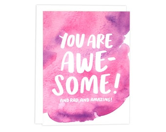 You Are Awesome Card, Congrats Card, Friendship Card, Watercolor Card, Awesome Card, Thank You Card, BFF Card, Bestie Card, Encouragement