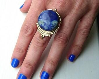 Beautiful Luna ring, brass lapis Lazuli ring, big adjustable statement ring, handmade gold ring with blue stone, round gemstone tribal ring
