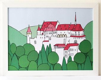 Castle Vianden | Illustrated poster | Luxemburg | Nursery art