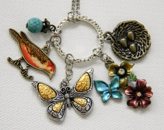 Bird and Nest Charm Necklace