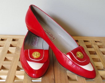Vintage Ladies Red Leather Flats Pappagallo Nautical Sz 7.5 N Shoes 70s
