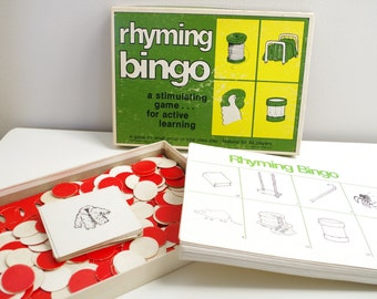 Vintage Rhyming Bingo Learning Game 1978 up to 36 Players