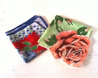 Pair of Vintage Hankies:  Printed Cotton Roses, in Red and Blue, Peach and Green, Hankerchiefs Hanky Wedding Banner