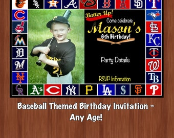 Boy's Baseball Themed Birthday Invitation - Baseball Party - Baseball Birthday Invitation - Digital - 6th Birthday - Baseball - Any Age