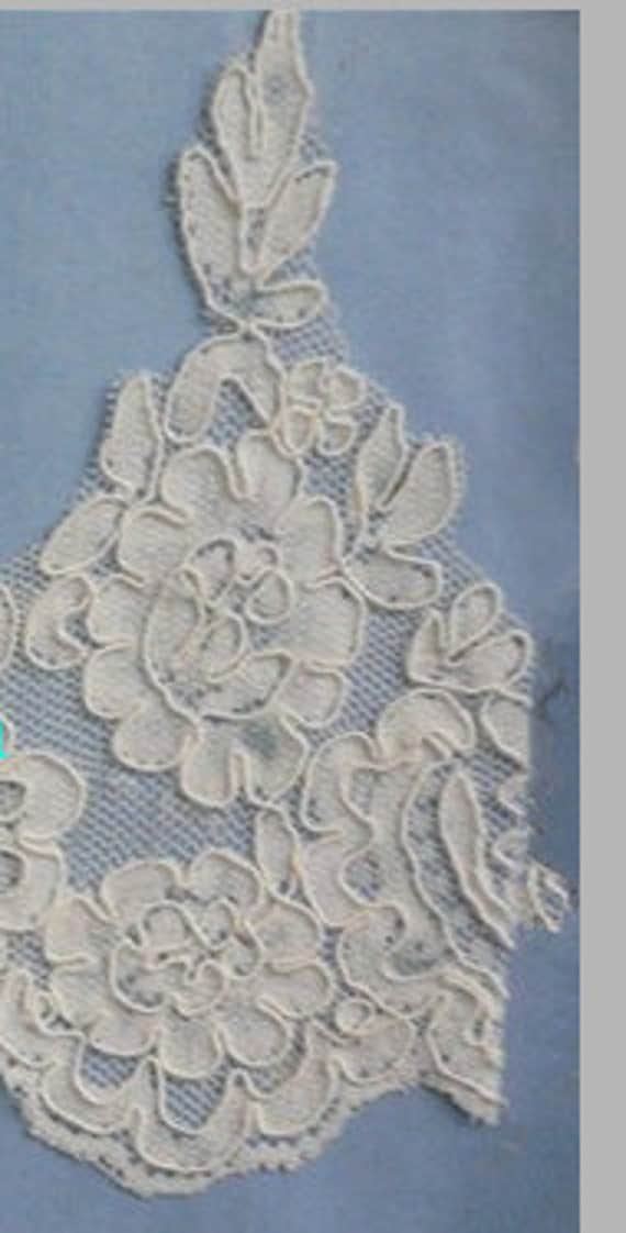 Lace Swatch,  Alencon lace, Ivory lave Mantilla lace, Reembroidered lace, Pageantry Lace Mantilla