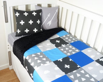 Patchwork quilt nursery set - Black, grey and blue geometric: Crosses, triangles, clouds (Black minky backing)
