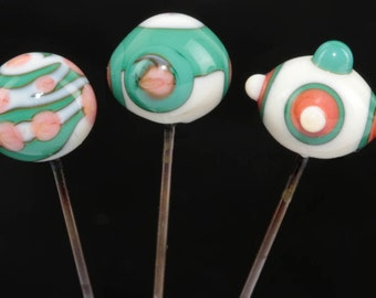 Decorative Sewing Pins with Lampwork Glass Heads