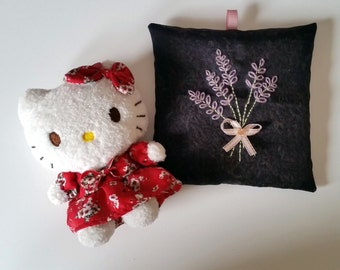 Lavender Bag - Handmade lavender georgette sachet with hand-embroidery