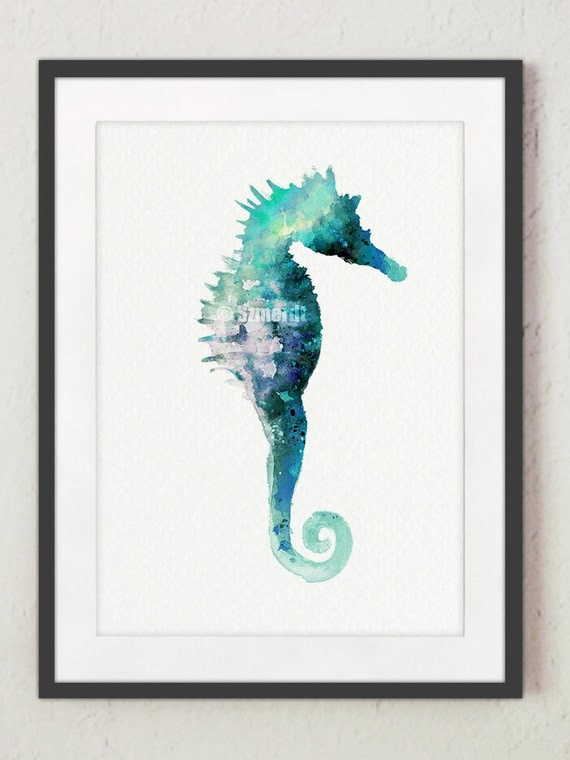 items similar to seahorse print blue home decor teal sea horse wall decor turquoise nautical. Black Bedroom Furniture Sets. Home Design Ideas