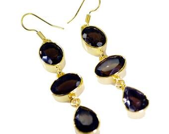 Smoky Quartz Earring,Copper Earring,Brown Earring,silver jewelry,Peridot earrings,GPESQU-76005
