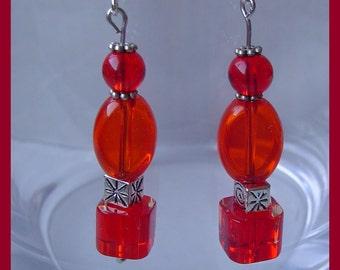 Little Red glass beads earrings