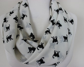 Cat Print Scarf Infinity Scarf Loop Circle Scarf Gift For Her Girlfriend Wife Gift Winter Fashion Gift Halloween Scarf Cat Cats Kitty Scarf