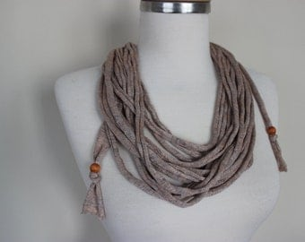T-shirt Fabric Necklace T-shirt Scarf Recycled Fabric Scarf Necklace Up-cycled Scarf Neck Ornament Beads Loop Scarf Gift For Her Scarf Angel