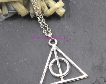 """18"""" Silver Plated Chain with Deathly Hallows Alloy Pendant Harry Potter Goth Fantasy Punk Rock"""