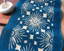Japanese indigo dyed table center hemp fabric 005