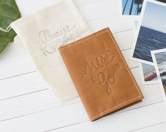 Personalized Just Go Embossed Design Leather Passport Wallet, Passport Cover, Personalized Gift, Bridal Party, Travel Wallet | The Armstrong