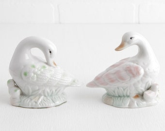 Vintage Pair of White Duck Figurines with Ducklings