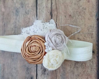 Gold, ivory and vintage lace headband