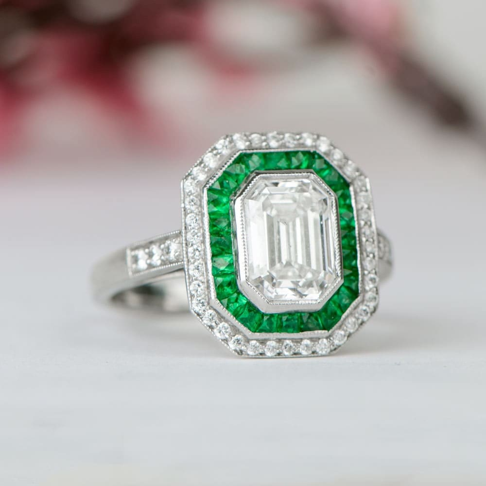 and emerald engagement ring vintage style f