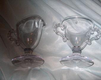 Vintage Glass Cream & Sugar, Candlewick, WAS 25.00 - 50% = 12.50
