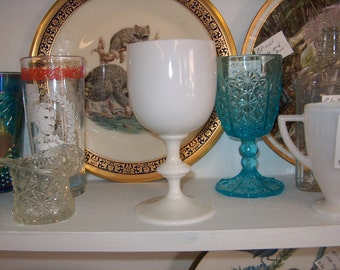 Antique Vintage White Stemmed Glass Goblet