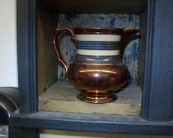 Antique Vintage Copper Lustre Pitcher w/ Blue Band