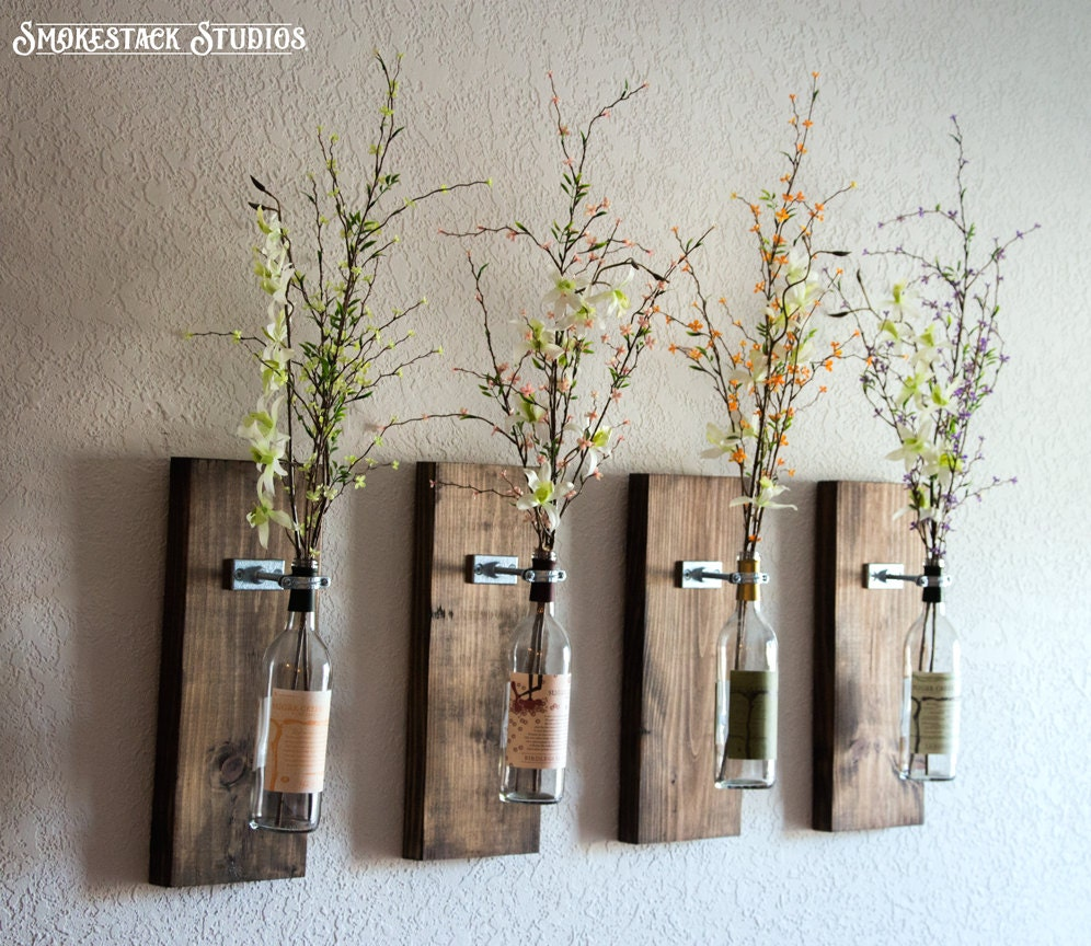 Wine bottle wall vase set of four rustic modern for Wine shop decoration