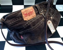 Genuine Levis denim handbag upcycled repurposed from old jeans by AsBeAu 100% leather strap #3