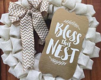 Bless This Nest Burlap Wreath