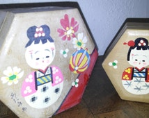 Vintage Asian Nesting Boxes Hexagonal Hand Painted ca.1980's