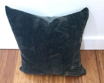 Chivasso Dark Gray Velvet Pillow, Sin City Pattern, Cityscape Designer Throw Pillow