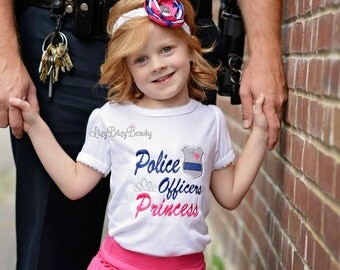Police officers princess embroidered girls shirt blue pink