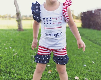Girls Fourth Of July Patriotic outfit red white and blue stars and stripes shorts and shirt set personalized custom name flag arrow