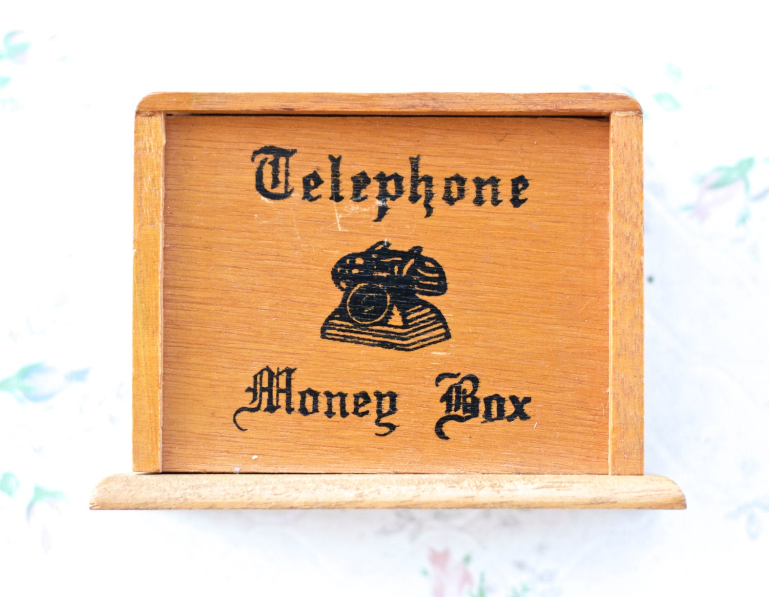 Telephone money box vintage wooden novelty box rustic home for Home money box