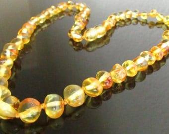 45 cm  Beautiful Baltic Amber  Adult  Necklace   Lemon Colour