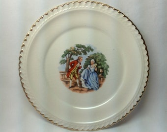 Vintage The Harker Pottery Co Small Plate Dish 22 KT Gold Trim Courting Colonial Couple Blue Dress Red Suit