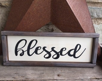 Blessed | Hand painted | Wooden sign | Rustic | Farmhouse | Family sign | Framed