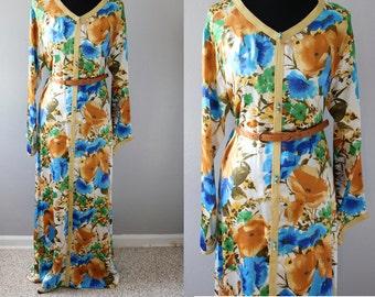 Silk Satin Floral Kaftan/Long Silk Caftan/Long Silk Maxi Dress/Floral Maxi Silk dress/Maxi  Kaftan dress/Long Silk Satin Dress