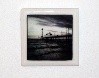 Original photographic tile wall hanging - Brighton Jetty, Adelaide