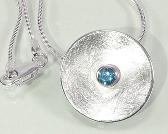 Pendant Silver with Blue Topaz, sterling silver, topaz, ice blue - handmade by SILVERLOUNGE