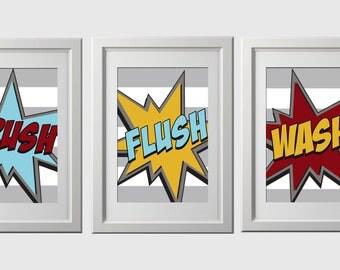 superhero bathroom wall art, superhero PRINTS shipped, customized character, super hero wall art  PRINTS, set of 3, brush, wash, flush art