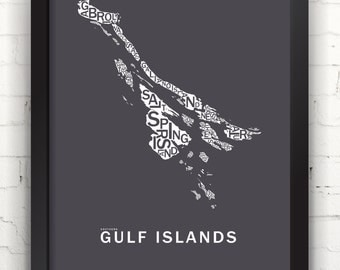 Far Sky Southern Gulf Islands Typographic Map