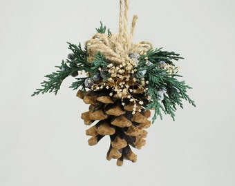 Christmas Decorations, Christmas Tree Ornament, Pine Cone Ornament, Natural Rustic Woodland Holiday Decor, Preserved Evergreens, Dry Flower