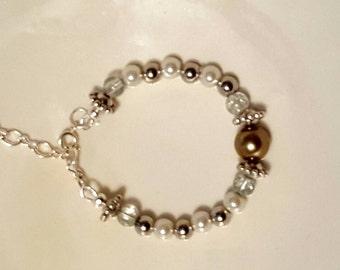 Beaded adjustable length bracelet